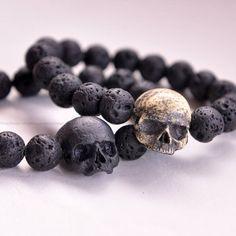 Hand Sculpted Realistic Black Skull Charm Black Volcanic Lava