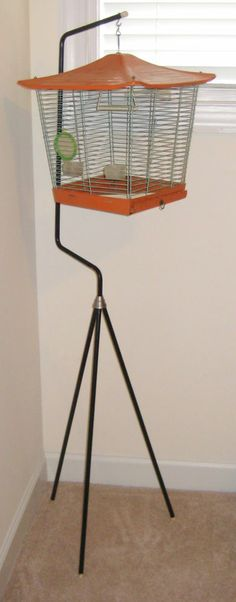 Vtg Bird Cage with Tri Leg Stand Asian Style Mid Century Modern Retro Space Age