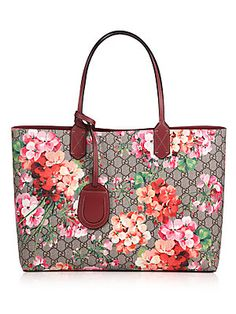 68cb8cb618f Gucci - Reversible GG Blooms Large Leather Tote