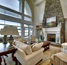 An amazing fireplace here. Love the stone work.. #richardjames