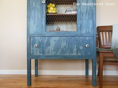 The Weathered Door: Waterfall Hutch in french grey and soldier blue milk paint