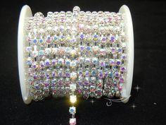 Diamante 4mm AB Rhinestone Silver Chain 10 Yard   eBay