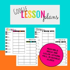 This is an editable lesson planner for Google drive. It is a 5 day, 8 subject (6 full size and 2 smaller) lesson planner. There is plenty of space for typing or writing, and standards can be listed on the side. There is a color option and a printer-friendly black and white option.