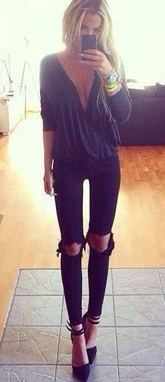 skinny ripped jeans.
