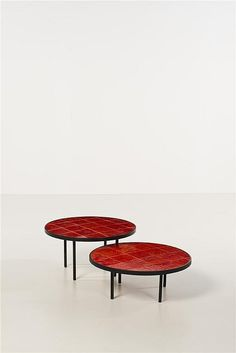Roger Capron; Enameled Metal and Glazed Ceramic Low Tables, c1960.