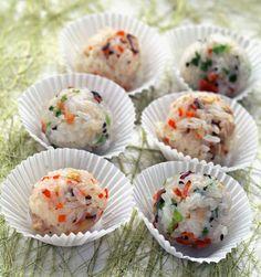Rice Balls - omitting bacon to make vegan version.