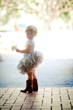 Flower Girl -- Tutu + Boots -- Too Cute! http://www.stylemepretty.com/2012/10/24/dade-city-wedding-at-lange-farm-from-elizabeth-davis-photography   Elizabeth Davis Photography