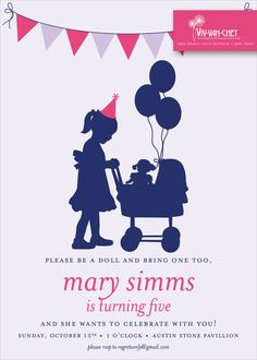 Classic Baby Doll   Birthday Party Invitation by VivVahChey on Etsy