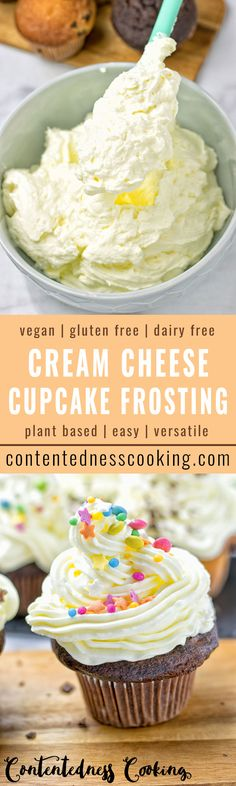 This Vegan Cream Cheese Cupcake Frosting is decadent and rich. Made from only four simple ingredients, it's perfect for all your cupcakes, cakes, brownies, and donuts. Entirely vegan and gluten free.