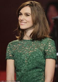 Keira Knightley puts her trim figure on display in green lace dress as she sits down for a chat with Jay Leno - Gorgeous: The 27-year-old wore hardly any make-up for her appearance on the talk show