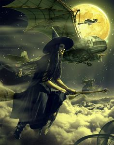 Sasha-Fantom is a digital artist mysterious from Ukraine. His artworks are from the world of digital art fantasy with technique photo manipulation. Steampunk Witch, Steampunk Halloween, Spooky Halloween, Vintage Halloween, Halloween Night, Beautiful Witch, Fantasias Halloween, Season Of The Witch, Witch Art