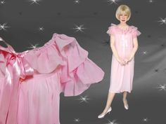 Vintage Pink Nylon Robe with Ruffles - 50s Pin Up Girl Negligee by LunaJunctionVintage on Etsy