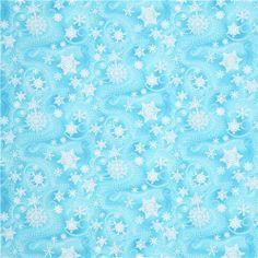 Snowflakes, Ice Blue Glitter Snowflake Fabric, Blue Fabric, Christmas Fabric, 145545
