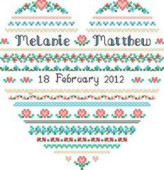 Wedding Heart Cross Stitch Pattern