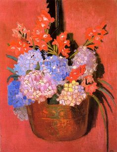 The Athenaeum - DENIS, Maurice French Nabi aux hortensias - 1916 Maurice Denis, Gustav Klimt, Art Français, Impressionist Artists, Post Impressionism, Container Flowers, French Artists, Religious Art, Art Forms