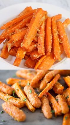 Healthy Dinner Recipes Discover Parmesan Garlic Roasted Carrots Savory sweet and completely addicting! Baked to perfection and full of flavor. These roasted carrots make a quick easy and delicious side dish! Easy Healthy Recipes, Vegetarian Recipes, Easy Meals, Healthy Drinks, Crockpot Recipes, Health Food Recipes, Healthy Delicious Recipes, Healthy Recipe Videos, Snacks Recipes