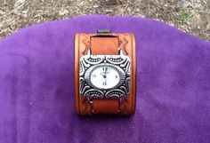 Women's Tooled Brown Leather Cuff Watch with a by RockinLeather, $40.00