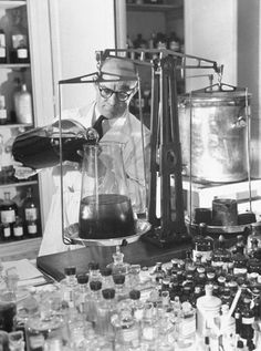 Perfume laboratory.  Photographs by Hans Wild. From the historical archives of LIFE Magazine 1947