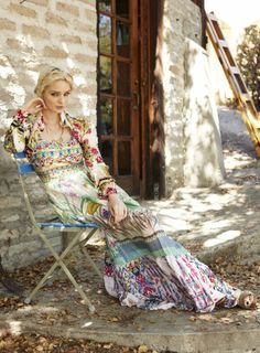 Johnny Was Collection Spring 2014 Lookbook: Blue Springs Embroidered Dress