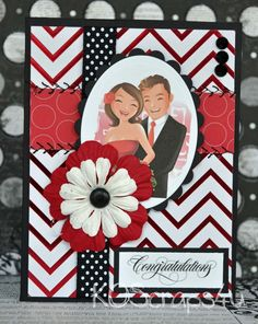 Love Card - Check out this sewn layered card using chevron foiled paper for the background as well as a beautiful image and ribbon/flowers/brads and bling.