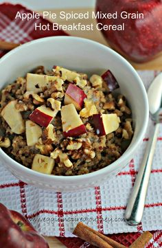 Apple Pie Spiced Mixed Grain Hot Breakfast Cereal - a heart healthy, protein and fiber packed breakfast.