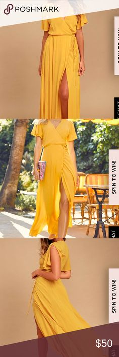 Lulus Golden yellow Maxi Dress Perfect Yellow wrap Maxi Dress Lulu's Dresses Maxi