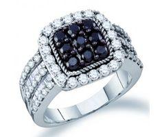 Black Diamond Fashion Ring Promise Cocktail 10k White Gold (2.01ct) #Diamond #fashion #Jewelry jeweltie.com