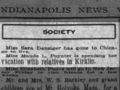Miss Maude L Poynter spending vacation with relatives in Kirklin Wed 9 Aug 1911 Indy News