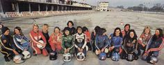 """In 1978-1979 the French motorcycle federation had a women's category called """"Feminine en Promosport."""" Looks like a pretty rad crew!  Includes Gabrielle Toigo, Patty Sanchez, and Anne-Marie Lagauche."""