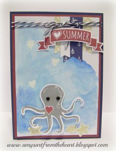 Amy's Art from the Heart: Under the Sea using Beach Days stamp set and Regatta papers.
