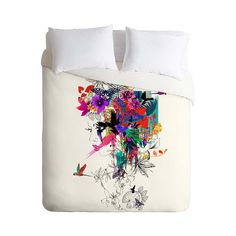 Modern art and beautiful color combine to perfection in this Exotic Mélange Duvet Cover. A stunning collection of tropical and exotic images add bright, vibrant color to the white background of this ma...  Find the Exotic Mélange Duvet Cover, as seen in the Bedroom Refresh Sale: Bedding Collection at http://dotandbo.com/collections/january-bedding-sale-bedding?utm_source=pinterest&utm_medium=organic&db_sku=100647