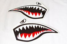 Jet Fighter Tiger Shark Roller Derby Helmet Vinyl Sticker / Vinyl Decal - Set of 2 on Etsy, $12.00