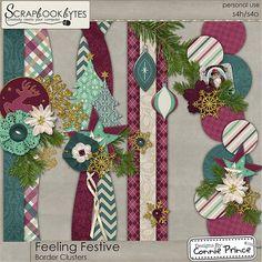 Feeling Festive - Border Clusters :: Page Edges :: Embellishments :: SCRAPBOOK-BYTES