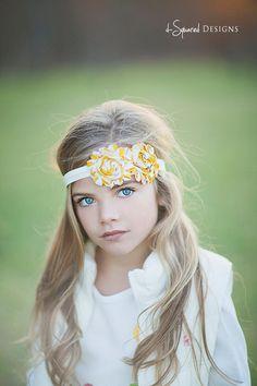 Baby Flower Headband- Double Mustard Yellow and Natural White Flowers on Soft Ivory Elastic Headband. $9.95, via Etsy.