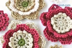 MyPicot   Free crochet patterns... Beautiful flowers that are one of my favorites for embellishing things or making jewelry.