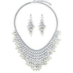 BERRICLE Silver-Tone Simulated Pearl Fashion Statement Necklace and... ($58) ❤ liked on Polyvore featuring jewelry, earrings, earrings and necklace set, sets, white, women's accessories, silvertone earrings, set jewelry, urban jewelry and faux pearl jewelry
