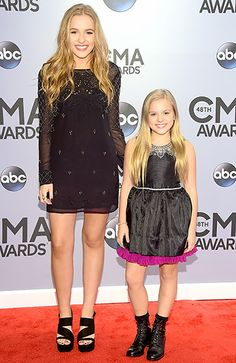 Lennon Stella and Maisy Stella~The Stella sisters—starring as Connie Britton's daughters on Nashville—complemented one another in short, sparkly dresses. While Lennon chose a burgundy Free People mini, her little sister chose a LBD with a statement collar and a ruffled pink hem.