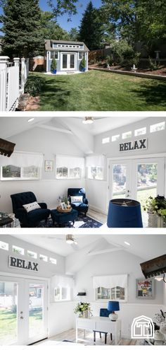 Design a she shed that fits your style perfectly. This she shed home office is a. Design a she she Outdoor Office, Backyard Office, Backyard Studio, Backyard Sheds, Shed Home Office Ideas, House Ideas, She Shed Decorating Ideas, Building A Wood Shed, Shed Interior