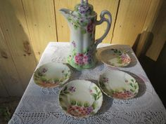 Vintage Chocolate Pot with Saucers, Hand Painted Chocolate Pot, Handpainted…
