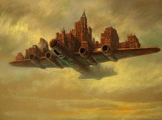 """""""Invisible Cities"""" is a series of oil paintings by Marcin Kołpanowicz that features bustling towns emerging from the most unexpected places. http://www.mymodernmet.com/profiles/blogs/marcin-kolpanowicz-the-invisible-cities"""
