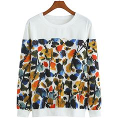 Round Neck Florals White Sweatshirt ($16) ❤ liked on Polyvore featuring tops, hoodies, sweatshirts, white, sweater pullover, white pullover, white pullover sweatshirt, floral sweatshirt and pullover sweatshirts