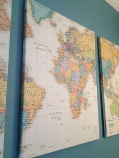 DIY map on canvas for art. How about using pins or hearts to mark where you've lived/visited? Diy Wand, Home Decoracion, Home And Deco, Diy Wall Art, Wall Decor, Crafty Craft, Crafting, Map Art, My New Room