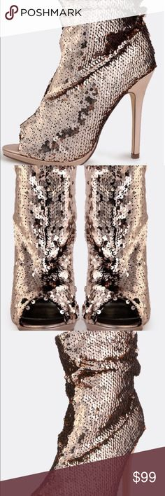 Metallic rose gold sequin ankle bootie Metallic rose gold sequin ankle bootie.  Peep toe. 5 in stiletto heel. New in box. Never worn. *if box doesn't fit priority mailer, will be shipped without a box*. Ships within one week. Boutique Shoes Ankle Boots & Booties