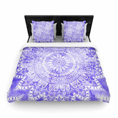 "KESS InHouse Nika Martinez ""Boho Flower Mandala in Purple"" Lavender Queen Woven Duvet Cover, 88 by 88- #kess #duvet #cover #mandala #purple #boho #bohochic #bohemian #purple #white #illustration #duvet #cover #interior #design #home #decor #cool #trendy #chic #watercolor #nikamartinez #kessinhouse"