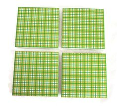 Ceramic tile coasters - Green - yellow - white plaid design - decorative tile - home decor - drink coasters - coffee coaster - gifts - tile.