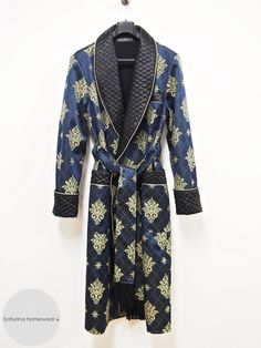 Men s navy blue and gold paisley dressing gown in quilted silk and jacquard luxury  cotton. 9452c14af