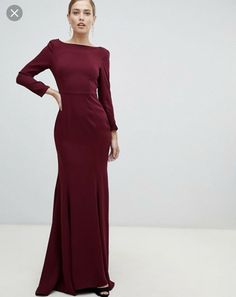 5d67f7873 ASOS Yaura Cowl Back Maxi Dress Fishtail Red Maroon 8 10 SOLD OUT | eBay