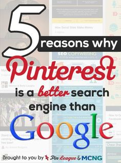 ★☯★ 5 reasons why #Pinterest 's search engine is better than #Google ★☯★ @Vincent Ng @PinLeague Team Pinterest's search engine is giving Google a run for it's money. With Pinterest, the #content is always fresh. These Fresh Results Almost Every Day are Easier and Faster to Digest. Pinterest allows for users to visually scan for results quickly, efficiently #WTF #SEO #Tips #Trick #OMG #weird #bizarre #unusual #amazing #internet #web #social #media #socialmedia #network #Tech #techno