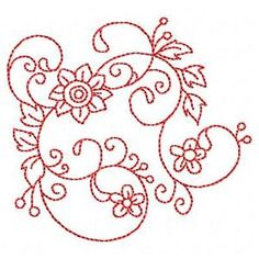 Redwork Florals - Free Instant Machine Embroidery Designs