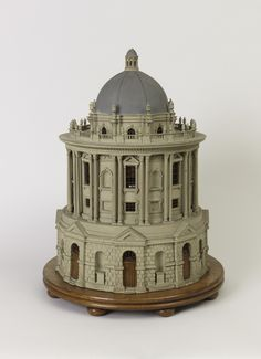 """Architectural Model, """"Radcliffe Camera"""", late 18th–mid-19th century This is a precise depiction of the Radcliffe Camera at Oxford University, an important architectural landmark in the baroque style with Palladian elements, designed by James Gibbs and built between 1737 and 1749. Gibbs's design is faithfully rendered: painted and carved gesso replicate the rustication and real glass in the windows."""